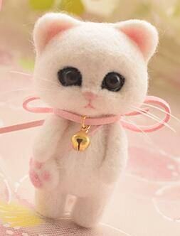 Wool Cat - handmade toy DIY needle felting kit