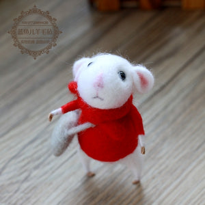 White Mouse Series - handmade toy DIY needle felting kit