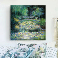 Water Lilies and Japanese Bridge - Claude Monet replica canvas art print for impressionist art lovers