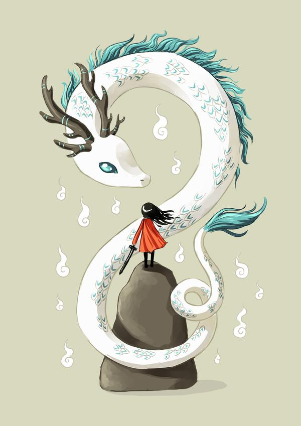 Dragon Spirit - fairy tale illustration art print