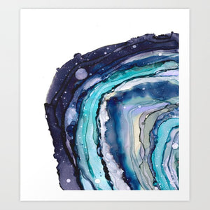Blue Geode - abstract resin art print