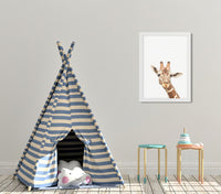 Cute giraffe woodland animal nursery art print for babies