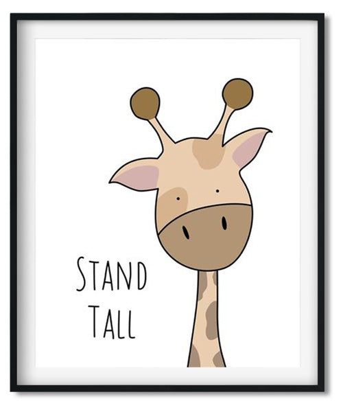 Cute giraffe cartoon animal nursery art print for babies