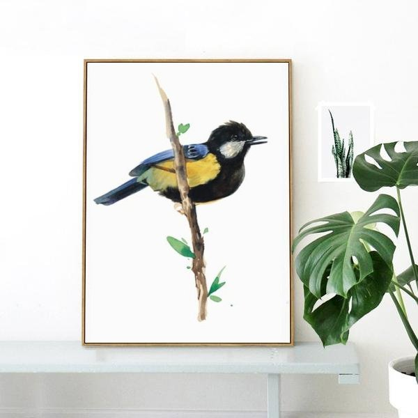 Great tit - watercolor bird art print for nature lovers