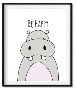 Cute hippo cartoon animal nursery art print for babies