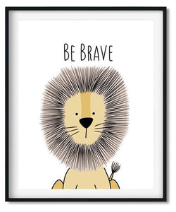 Cute lion cartoon animal nursery art print for babies