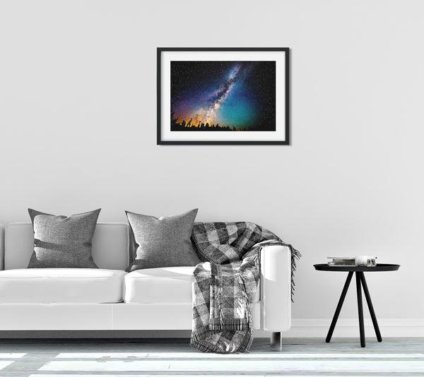Milk Way galaxy starry night silk fabric art print for urban home