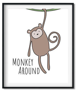 Cute monkey cartoon animal nursery art print for babies