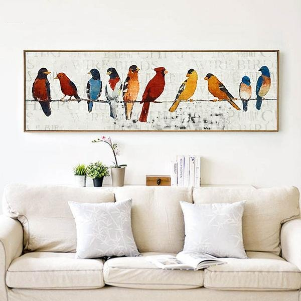 Birds on a Wire - modern pop banner canvas art print