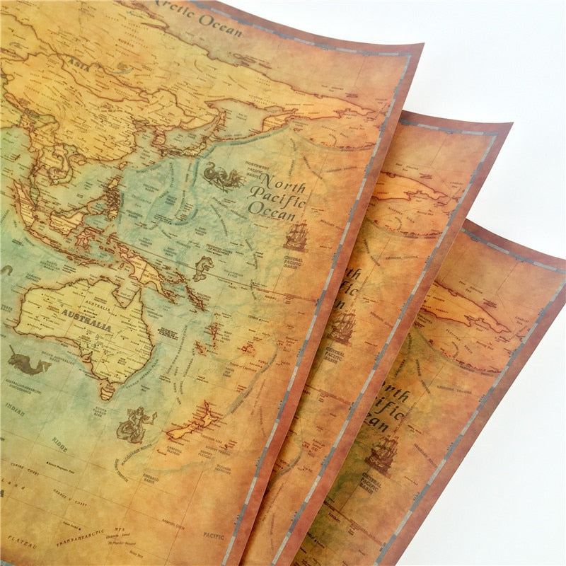 vintage style world map art print for map lovers