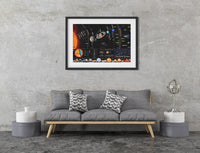 Solar System planets silk fabric science educational poster print