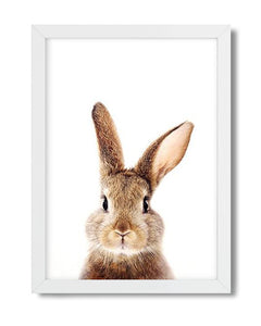Cute rabbit woodland animal nursery art print for babies