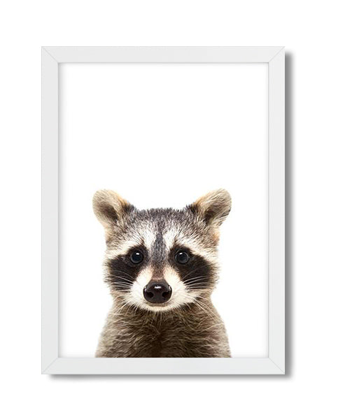 Cute raccoon woodland animal nursery art print for babies