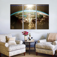 Night earth from space canvas set for space lovers