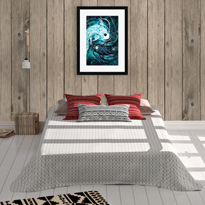 Ying Yang Koi Art - anime digital art print bearing cosmic symbol