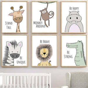 Cute crocodile cartoon animal nursery art print for babies