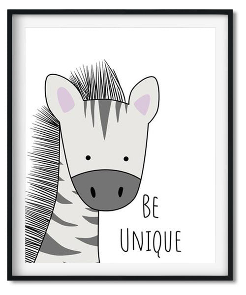 Cute zebra cartoon animal nursery art print for babies