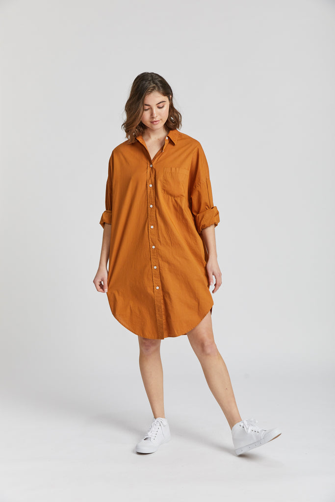 The Chiara Shirt Dress - Tobacco