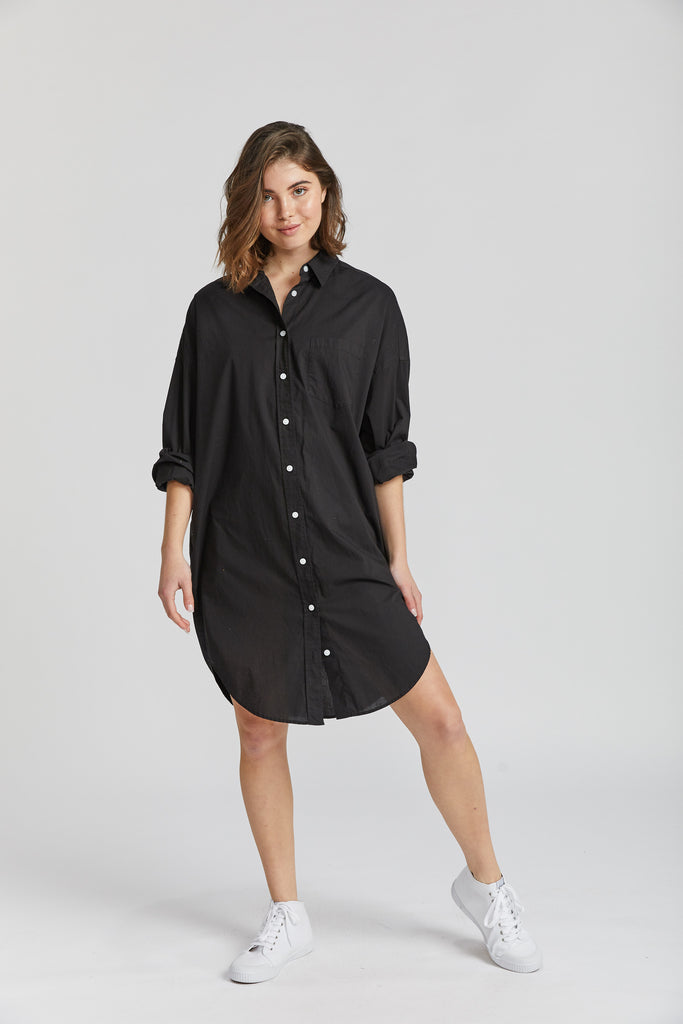 The Chiara Shirt Dress - Black