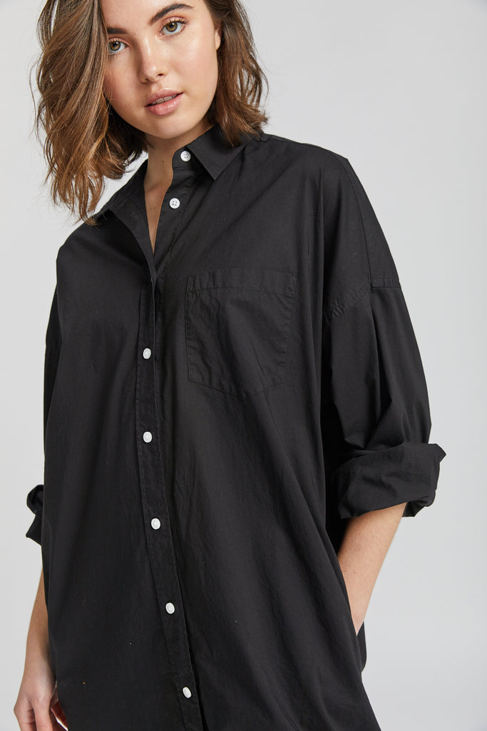 The Chiara Shirt Dress - Black & Dark Sky