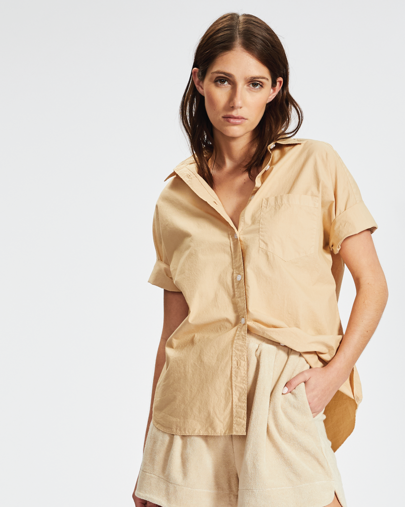 The Chiara Shirt - Short Sleeve - Caramel & Sky
