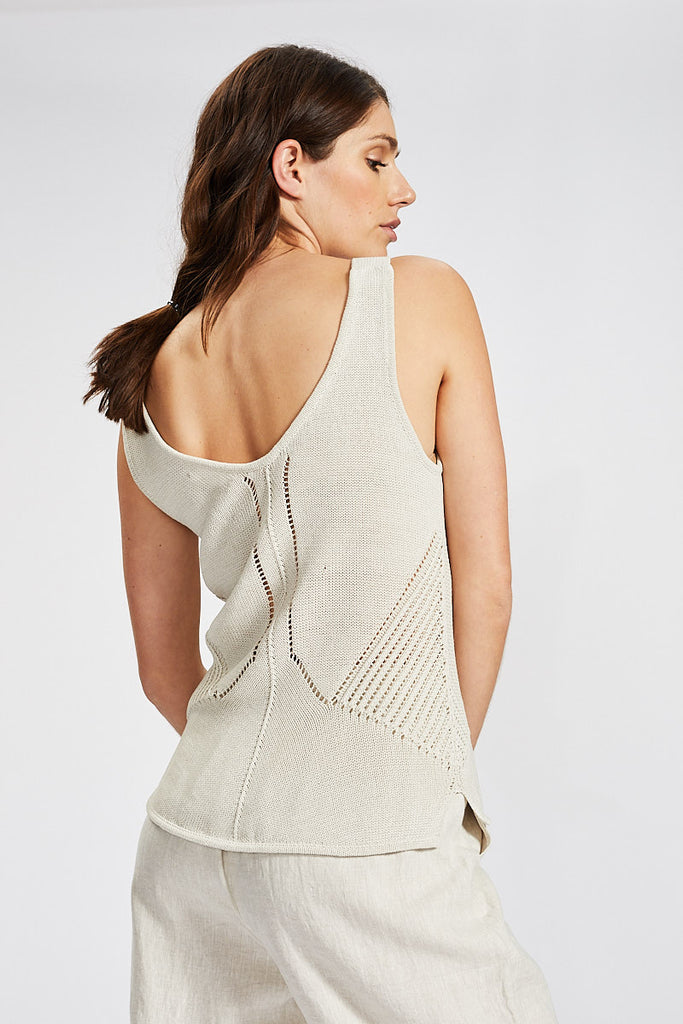 Pattern Knit Singlet - Cream