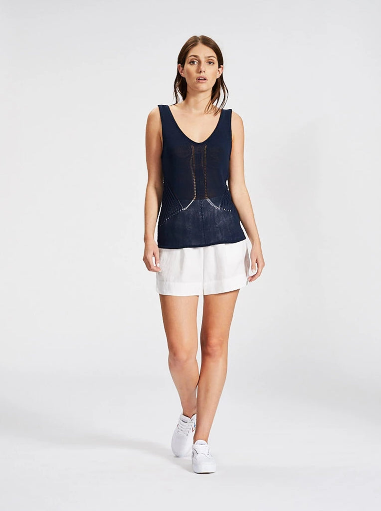 Pattern Knit Singlet Navy