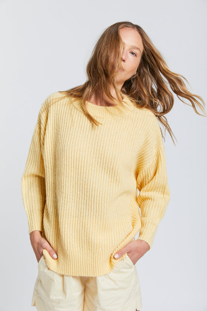 Mohair Knit - Soft Yellow & Tan