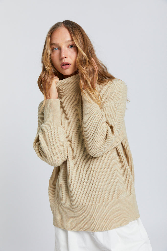 High Neck Sweater - Oatmeal