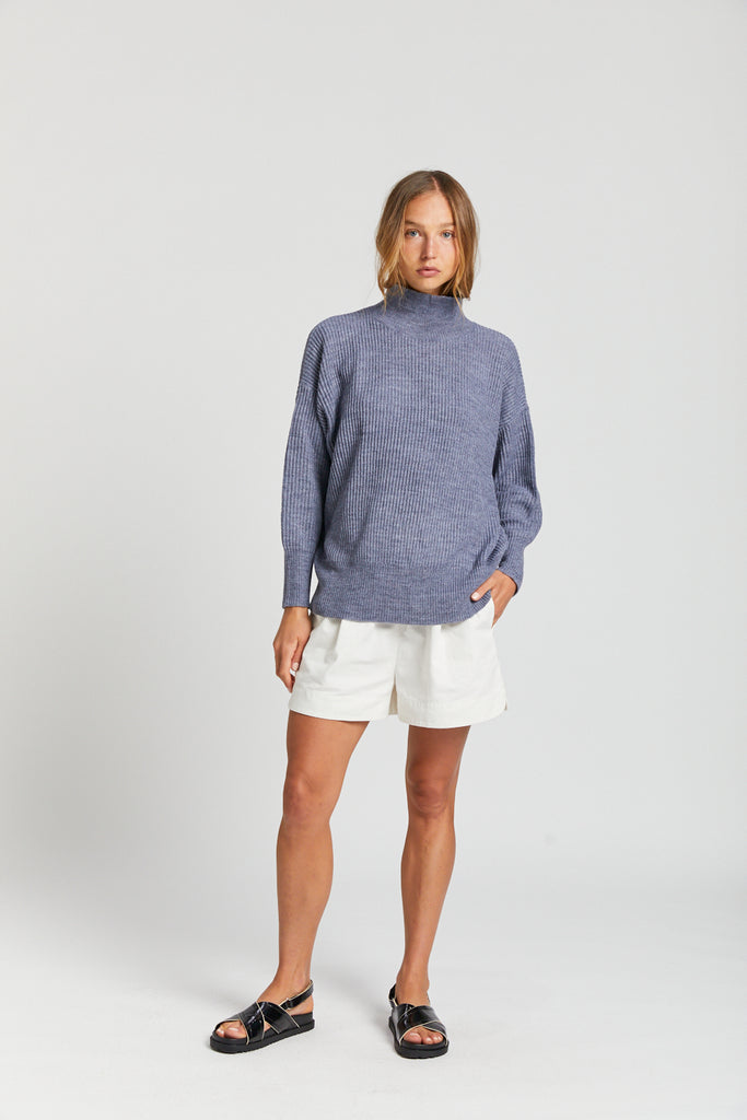 High Neck Sweater - Grey