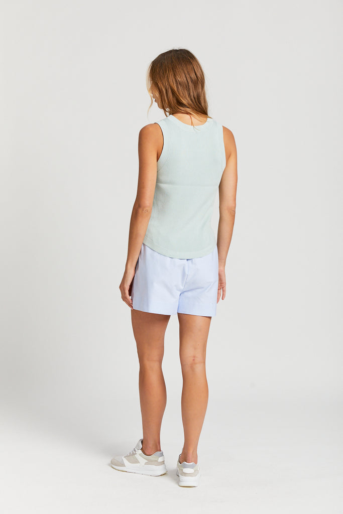 Cotton Blend Knit Tank Top - Aqua