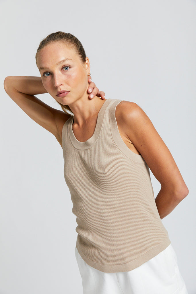 Cotton Blend Knit Tank Top - Natural