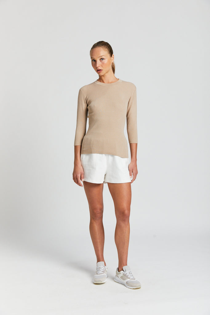 Cotton Blend Ribbed Knit Sweater - Natural