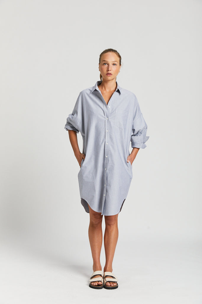 The Oxford Chiara Shirt Dress - Light Blue & Light Grey