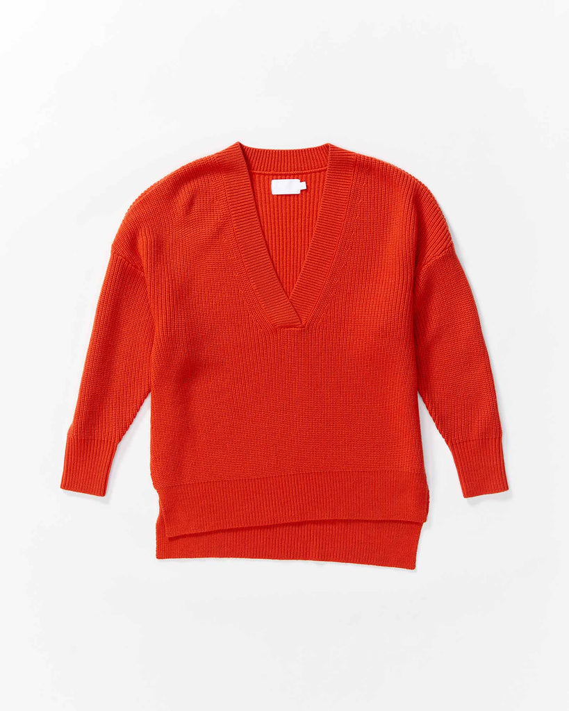 V-neck Knit - Orange