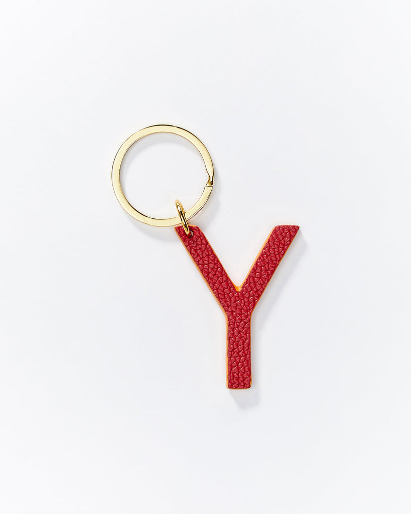 Alphabet key rings - Red/Metallic Pink