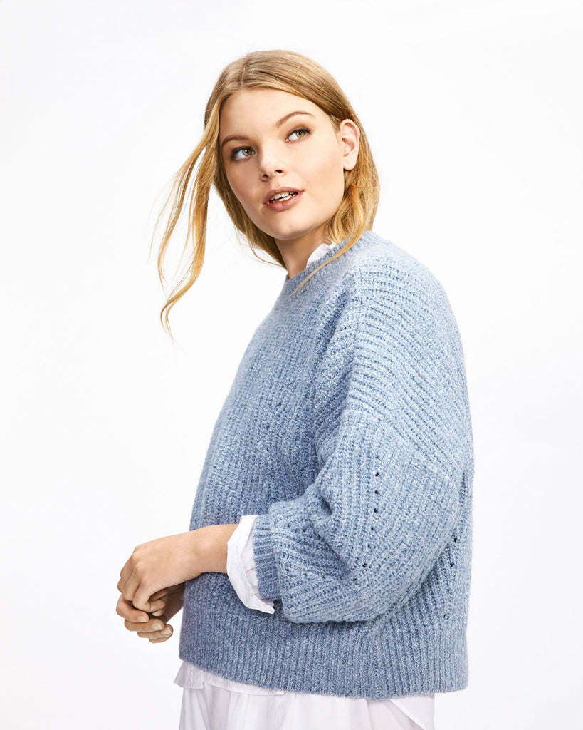 Pointelle Knit - Steel Blue