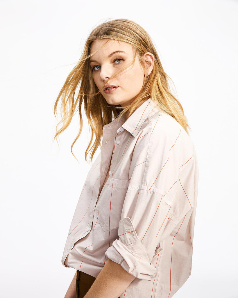 The Chiara Shirt - Powder Pink Stripe