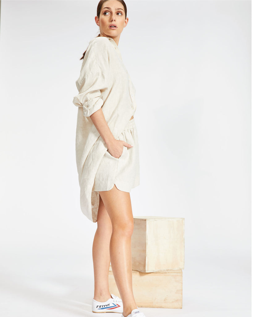 The Marala Shirt Dress - Natural Linen