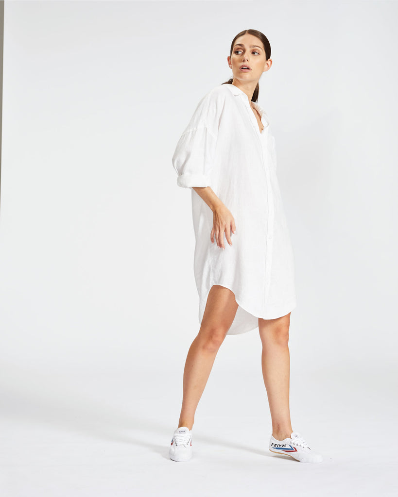 The Marala Shirt Dress - White Linen
