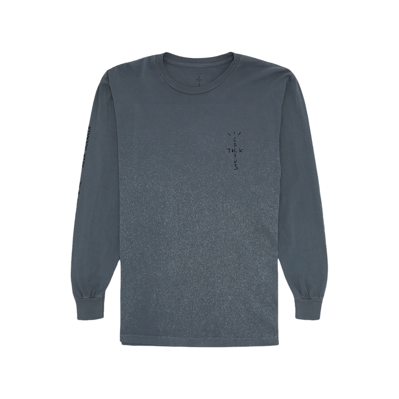 Travis Scott Back Bling Long Sleeve Tee Washed Grey
