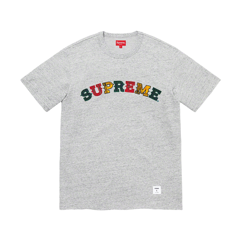 Supreme Plaid Applique S/S Top Grey
