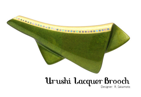 Urushi Japanese Lacquer Green Brooch