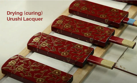 Drying Japanese Urushi Lacquer Red