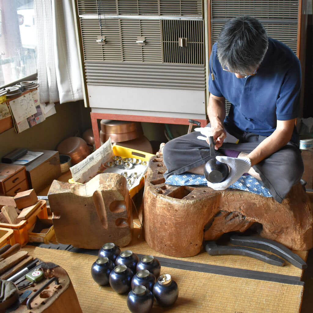 Master Japanese Copper Metal Artist at Work Hand-Hammering