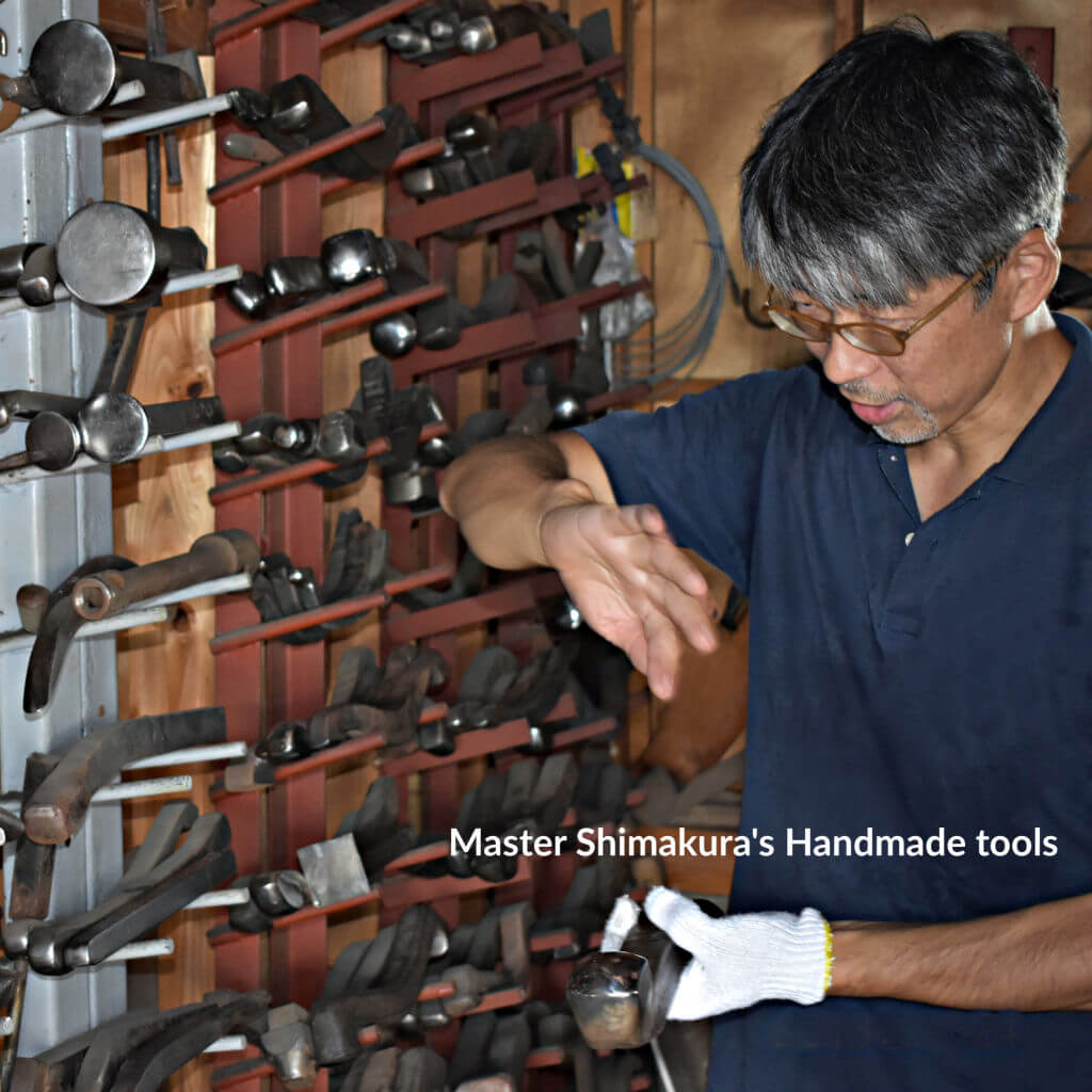 Japanese Master Copper Artist M. Shimakura with handmade tools