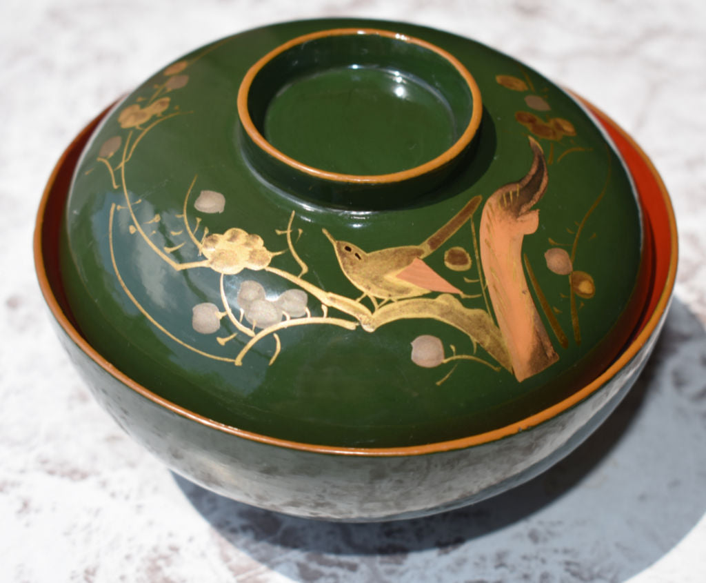 Green with Gold Maki-e 200 Year Old Urushi Lacaquerware Bowl from Japan