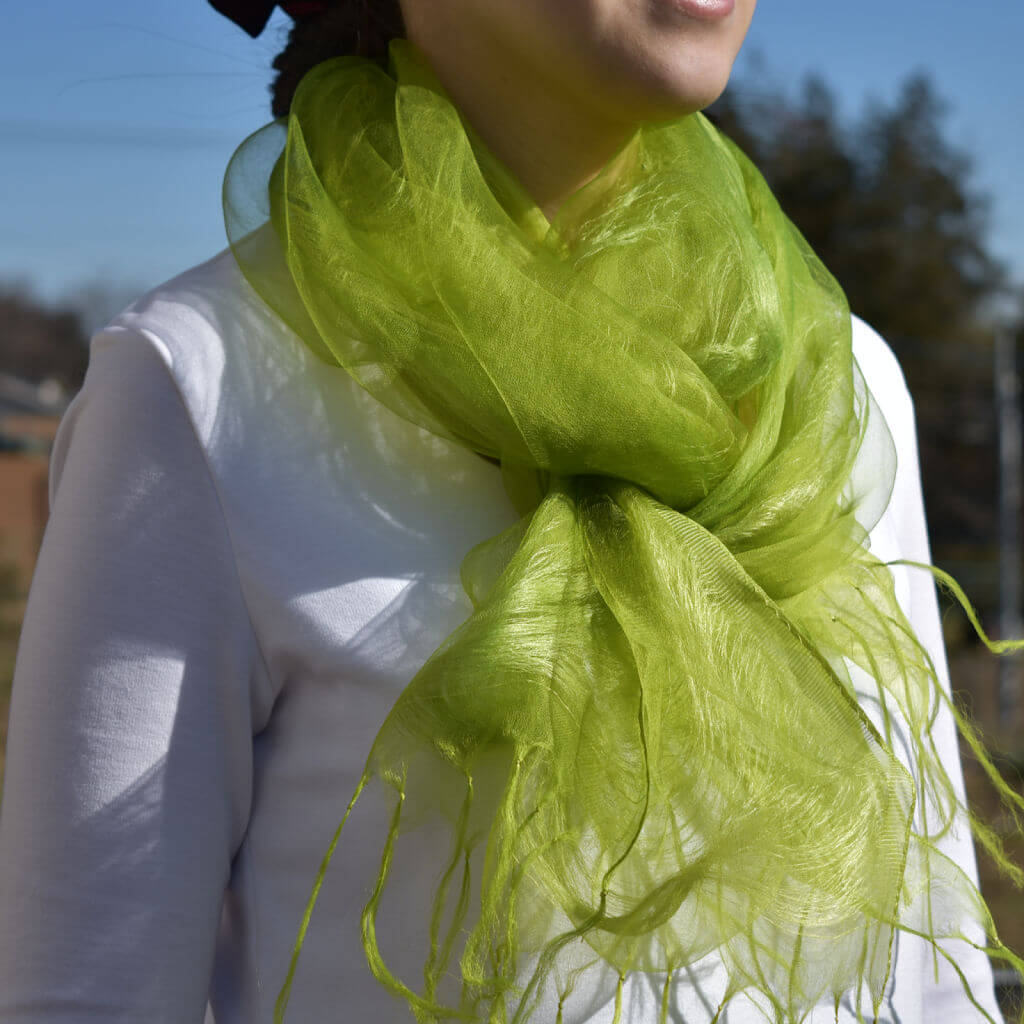 Matcha Green Silk Stole From Japan With Natural Pure Plant Dye on Model