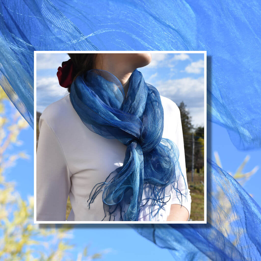 Japan Indigo Blue Silk Scarf of Pure Natural Plant Dye by Maito Design Works