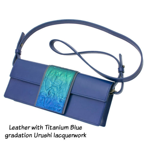 Blue Leather Ladies Bag with Urushi Lacquer and Titantium Artwork